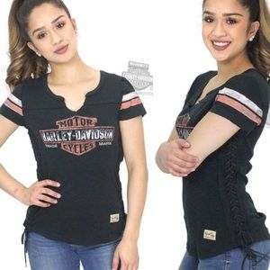 Harley Davidson | Side Laced Notched Graphic Tee